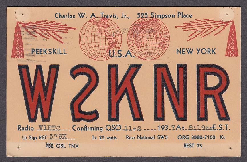 W2KNR Charles Travis Jr 525 Simpson Place Peekskill NY QSL postcard 1937