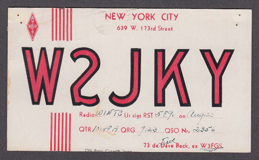 W2JKY Dave Beck 639 W 173rd St New York City NY QSL postcard 1937