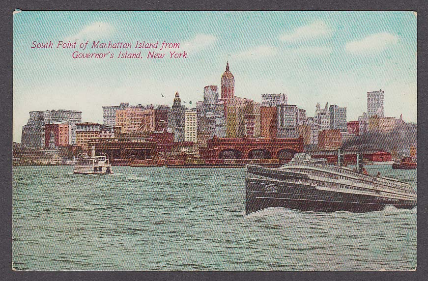 South Point of Manhattan Island from Governor's Island NY postcard 1910s
