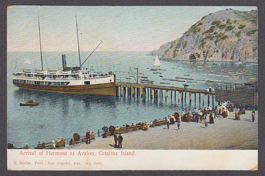 Arrival of Hermosa at Avalon Catalina Island CA undivided back postcard 1900s