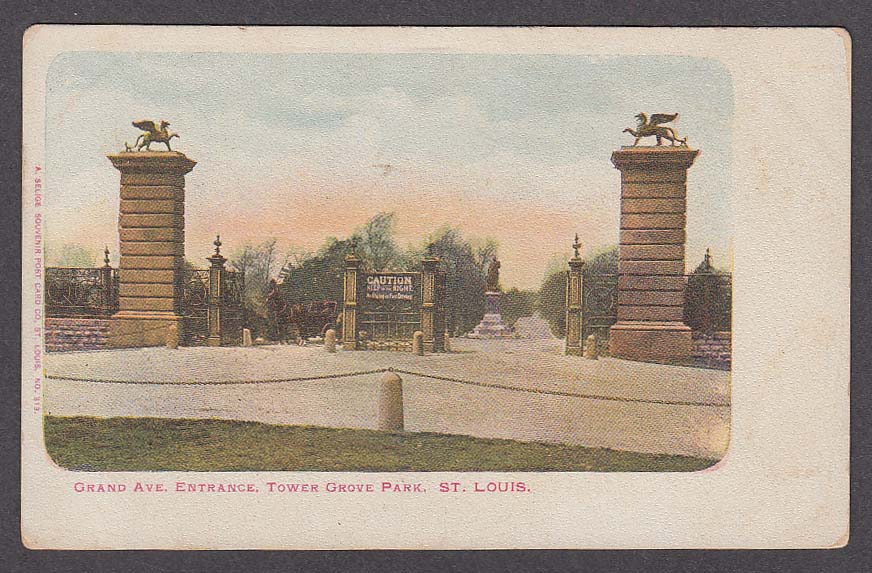 Grand Ave Entrance Tower Grove Park St Louis MO undivided back postcard 1900s