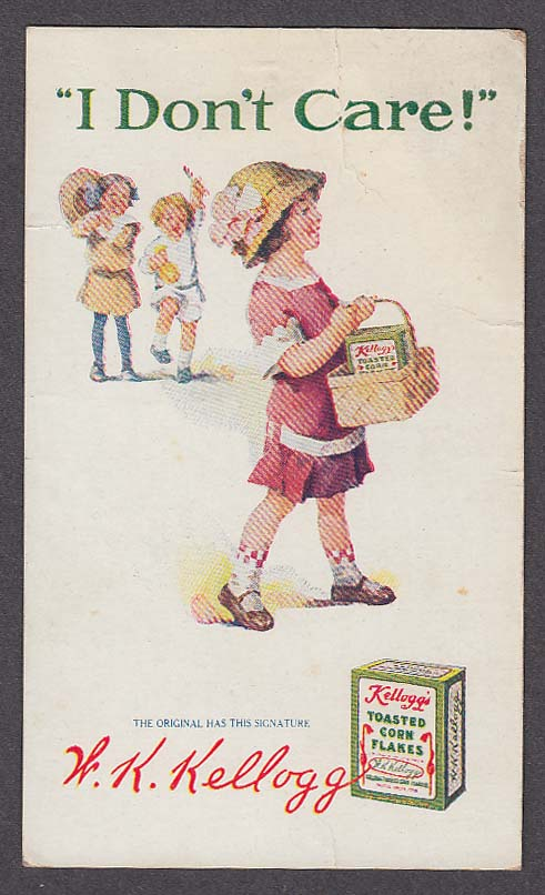 W K Kellogg Toasted Corn Flakes postcard 1910s