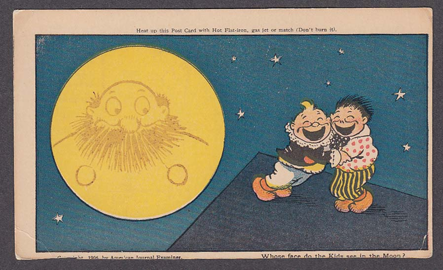 Katzenjammer Kids Face in the Moon undivided back postcard 1906