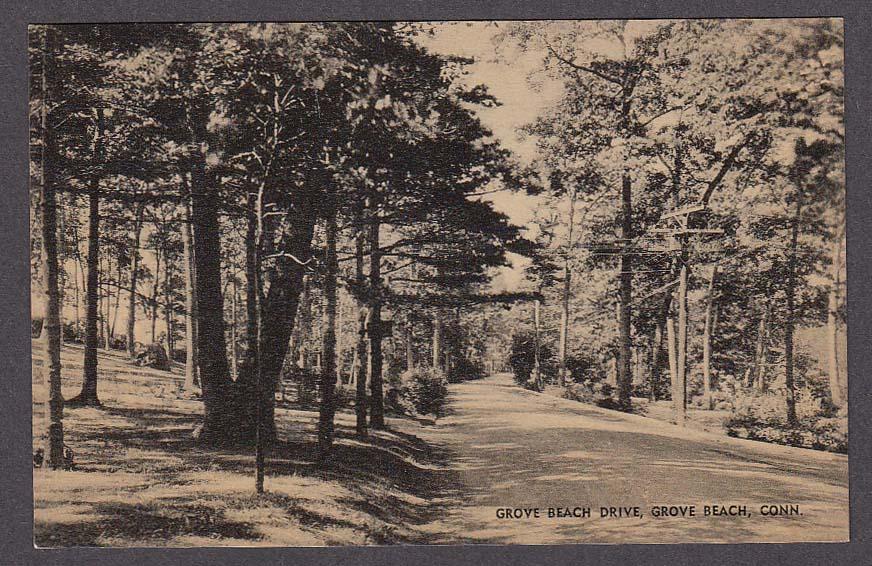 Grove Beach Drive Grove Beach CT postcard 1920s