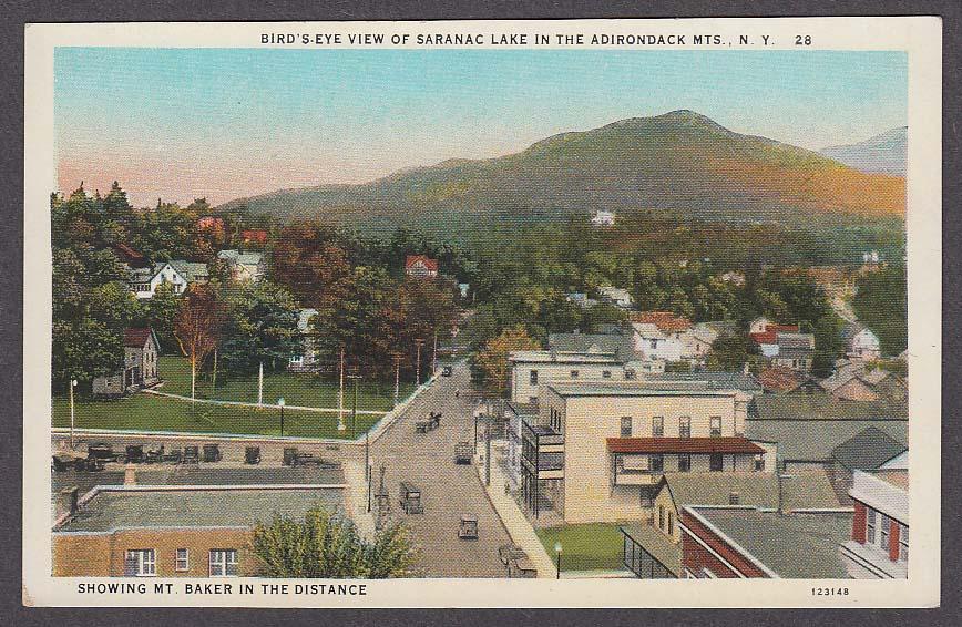 Bird's-Eye View of Saranac Lake Adirondack Mountains NY Mt Baker postcard 1910s
