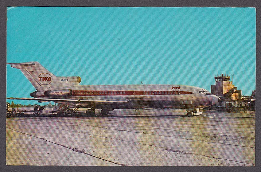 TWA Star Stream 727 Weir Cook Municipal Airport Indianapolis IN postcard 1960s