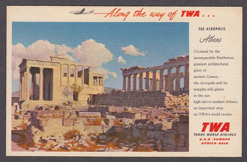 TWA Trans World Airlines Acropolis Athens Greece postcard 1930s