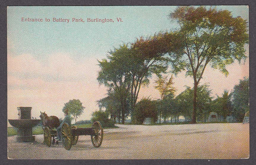 Entrance to Battery Park Burlington VT postcard 1910s