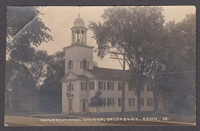 Congregational Church Salisbury CT RPPC #38 postcard 1920s