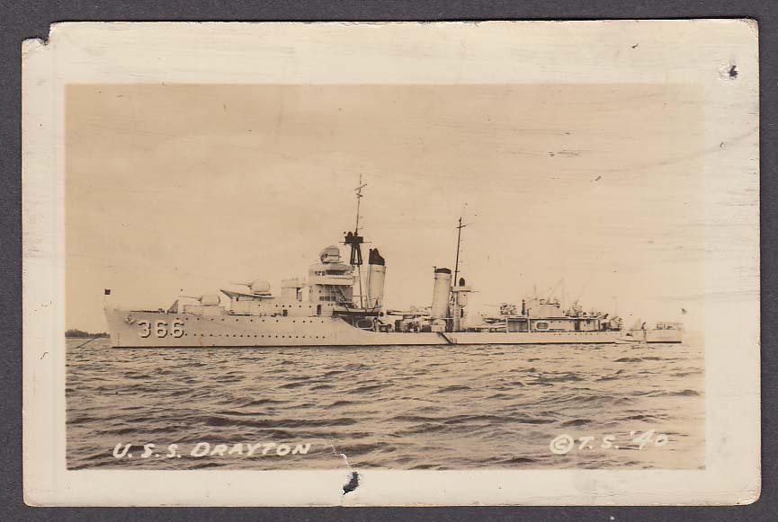 US Navy destroyer USS Drayton DD-366 RPPC postcard 1930s