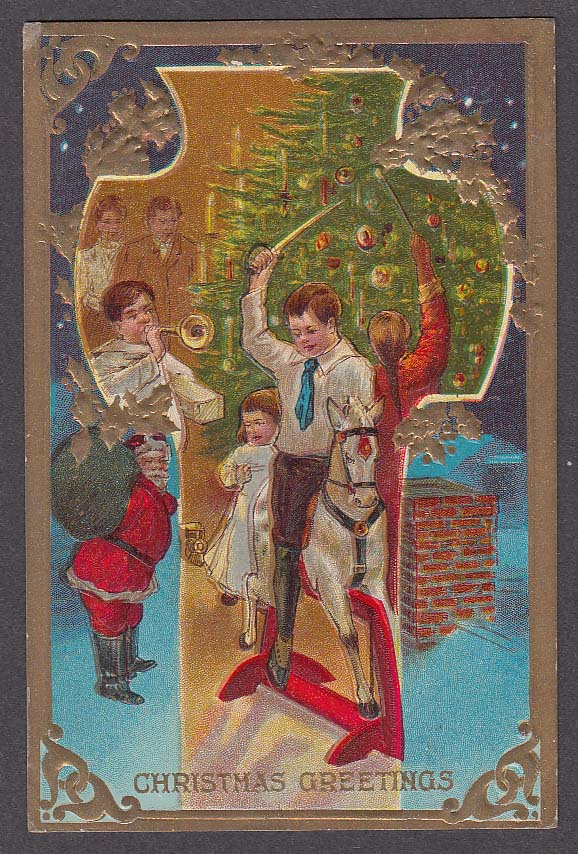 Christmas Greetings embossed tree candles rocking horse sword horn postcard 1910