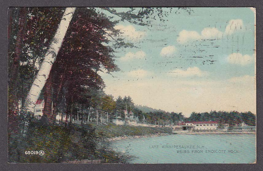 Lake Winnipesaukee NH Weirs from Endicott Rock postcard 1911