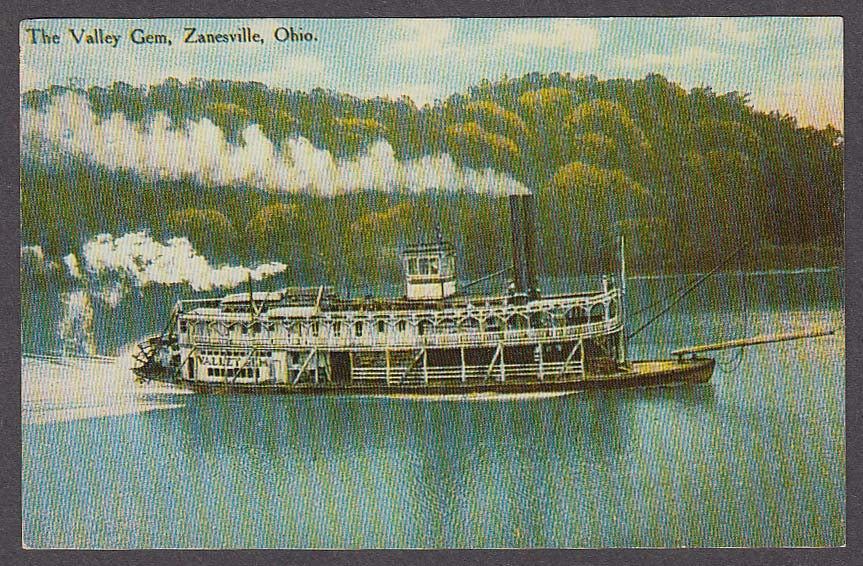 Riverboat The Valley Gem Zanesville OH postcard 1950s