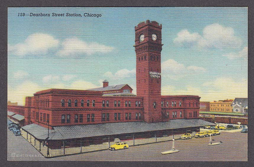 Dearborn Street Station Chicago IL postcard 1940s
