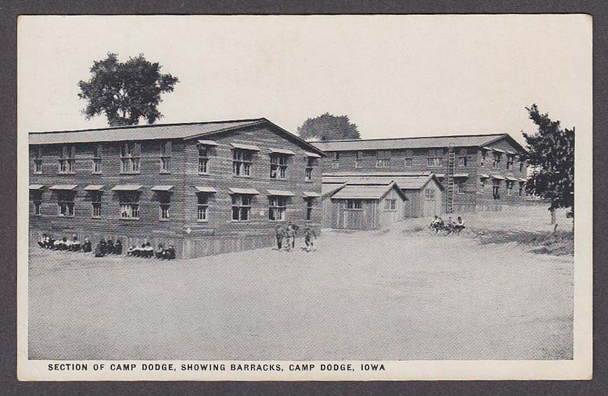 Section of Camp Dodge showing Barracks Camp Dodge IA postcard 1910s