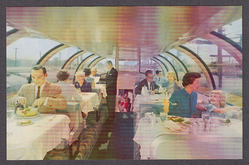 Union Pacific Railroad Astra Dome Dining Car City of LA Domeliner postcard 1950s