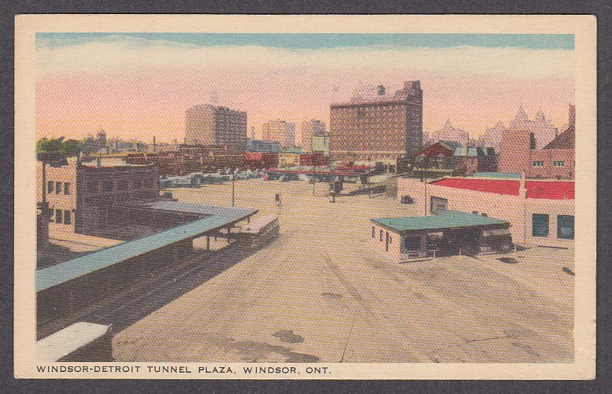Windsor-Detroit Tunnel Plaza Windsor Ontario Canada postcard 1930s