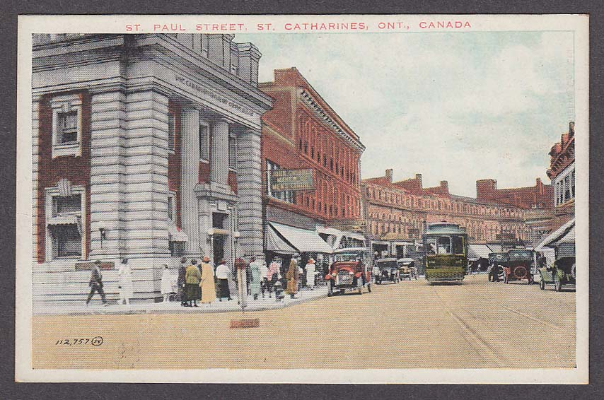 Trolley St Paul Street St Catharines Ontario Canada postcard 1920s