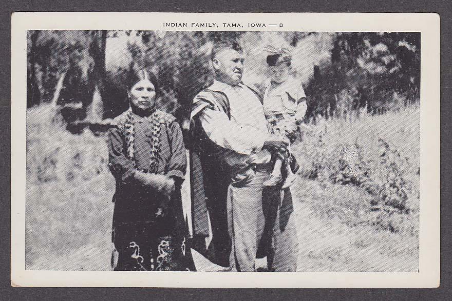 Indian Family Tama IA postcard 1930s