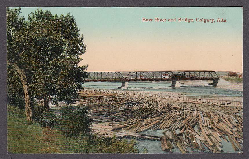 Bow River & Bridge Calgary Alberta Canada postcard 1910s