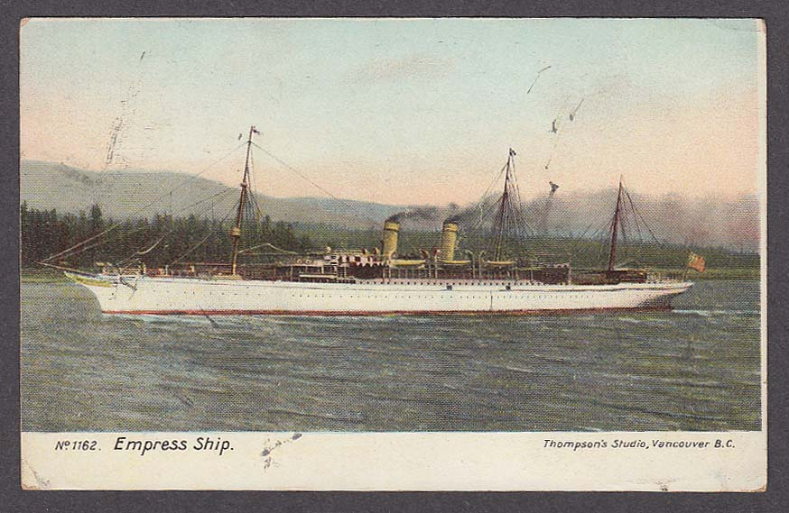 Empress Ship in Vancouver British Columbia Canada postcard 1905