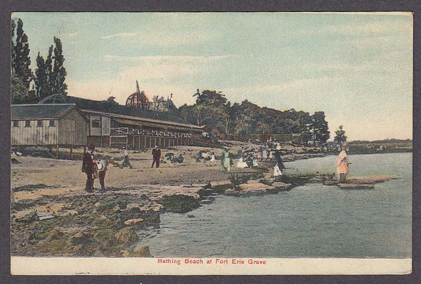 Bathing Beach at Fort Erie Grove Ontario Canada postcard 1909