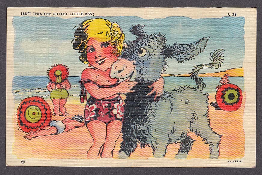 Cutest Little Ass blonde bathing beauty cheesecake comic postcard 1940s