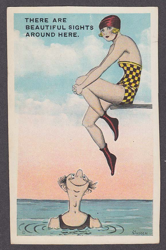 Beautiful Sights bathing beauty Madden comic postcard 1920s
