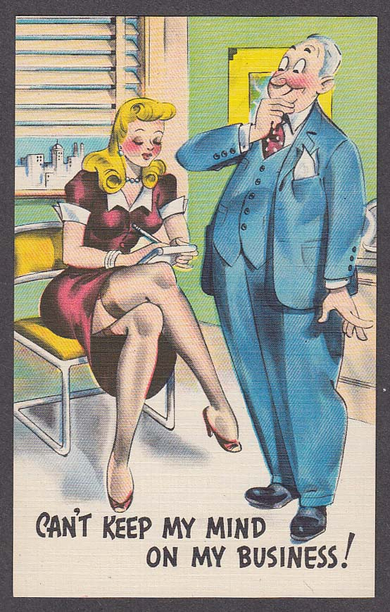 Secretary stockings cheesecake comic postcard 1940s
