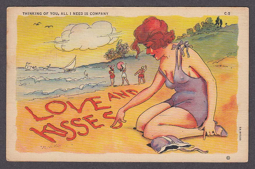 Bathing Beauty Thinking of You comic cheesecake postcard 1938 Curt Teich