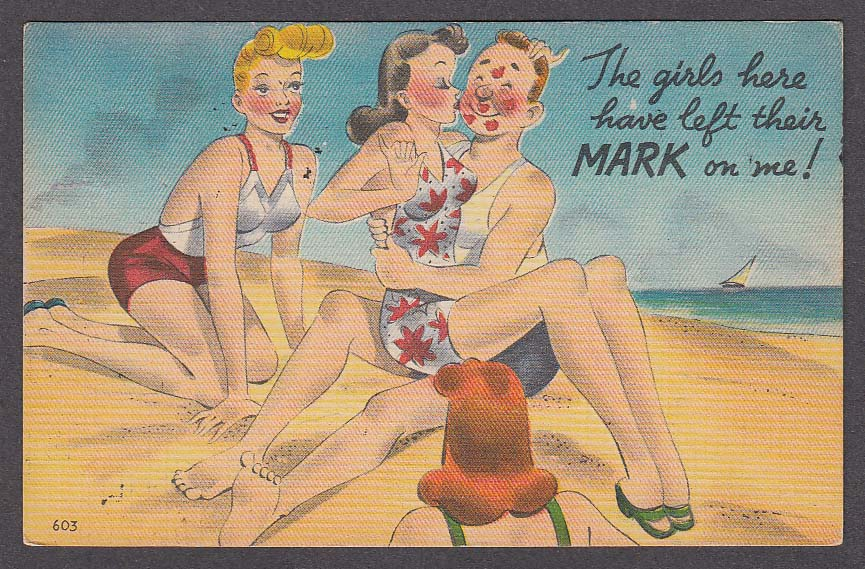 Blonde Brunette Redhead Kissing on Beach comic cheesecake postcard 1953