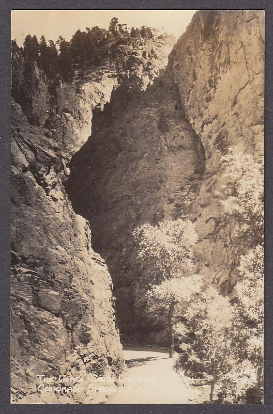 The Gorge South Cheyenne Canon Colorado Springs CO RPPC postcard 1950s