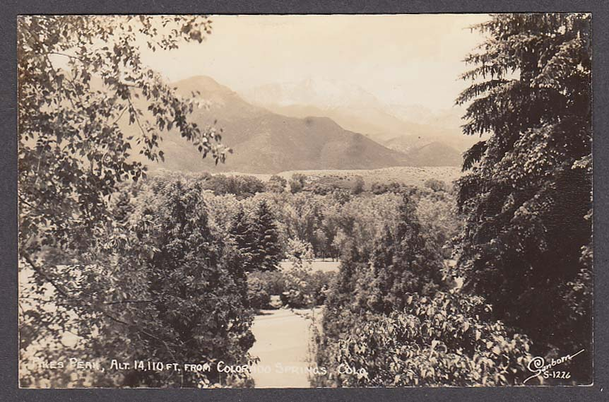 Pikes Peak from Colorado Springs CO RPPC postcard 1950s