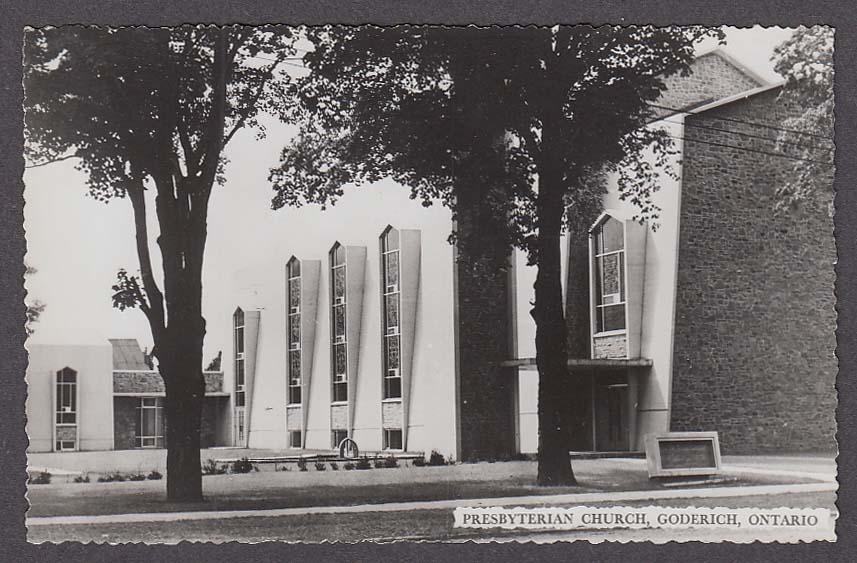 Presbyterian Church Goderich Ontario Canada RPPC postcard 1950s