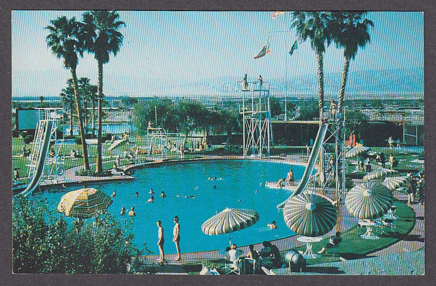 Shadow Mountain Club Pool Palm Desert CA postcard 1960s