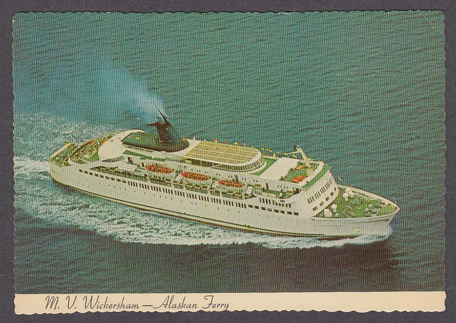 MV Wickersham Alaskan Ferry AK postcard 1960s