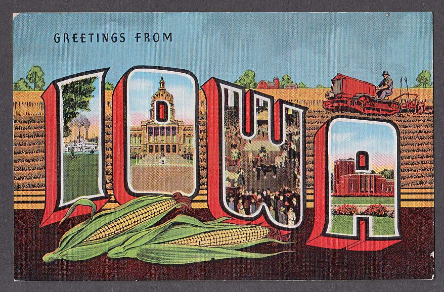 Greetings from IOWA large letter postcard 1940s 6272N