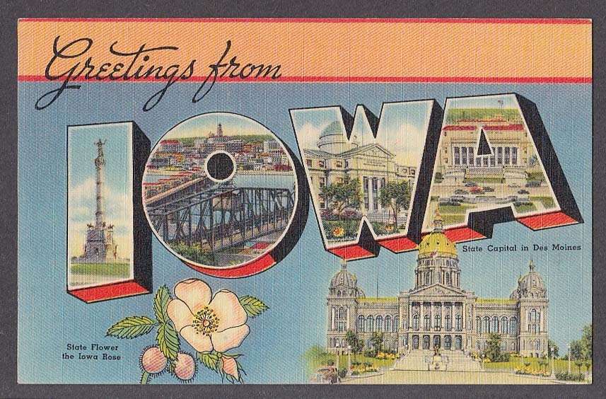 Greetings from IOWA large letter postcard 1940s State Capital Iowa Rose