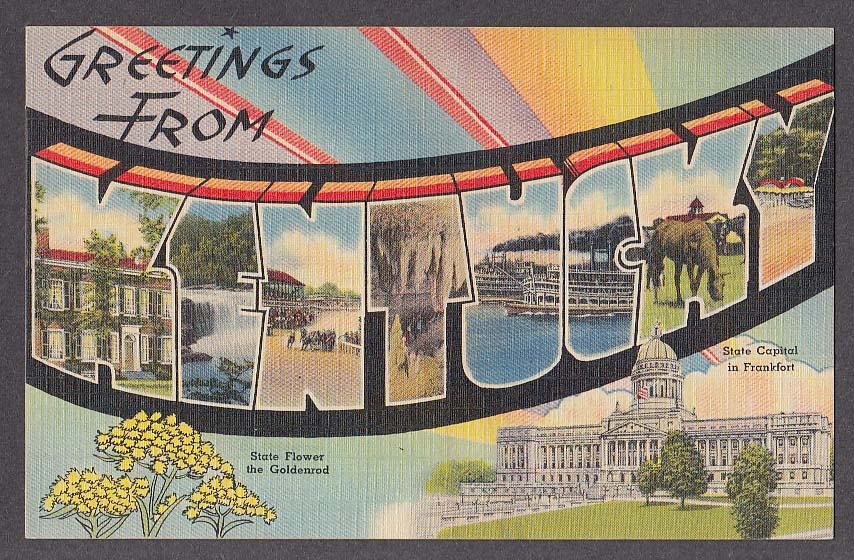 Greetings from KENTUCKY large letter postcard 1940s State Capitol Goldenrod