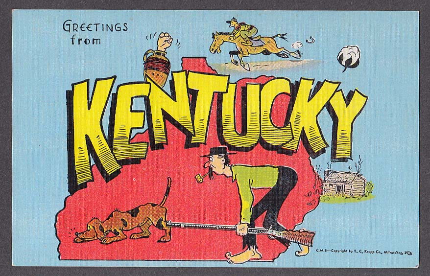 Greetings from KENTUCKY large letter postcard 1940s