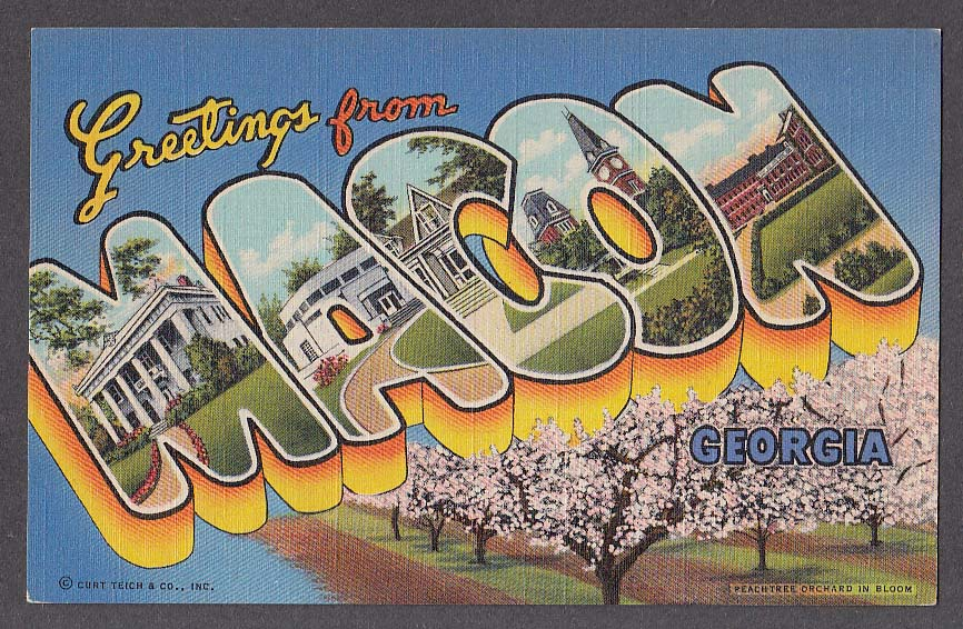 Greetings from macon ga large letter postcard 1940s curt teich greetings from macon ga large letter postcard 1940s curt teich peachtree orchard m4hsunfo
