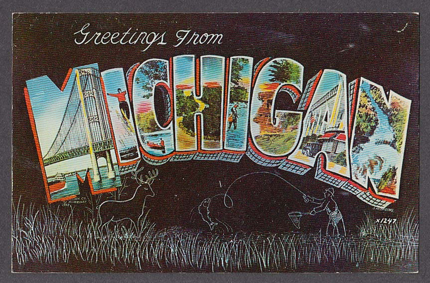 Greetings from michigan large letter postcard 1950s m4hsunfo