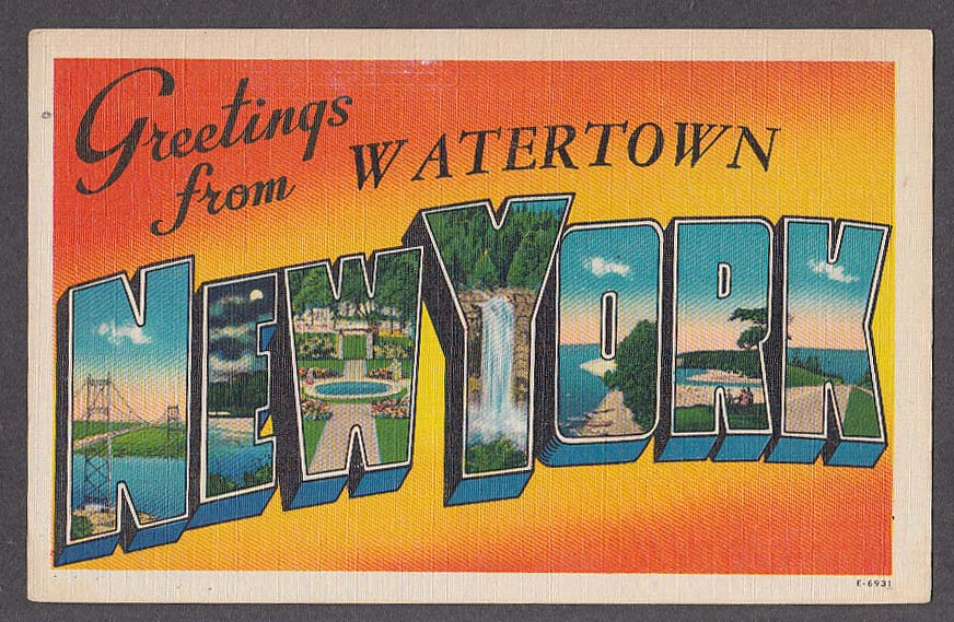 Greetings from watertown new york large letter postcard 1940s e 6931 m4hsunfo