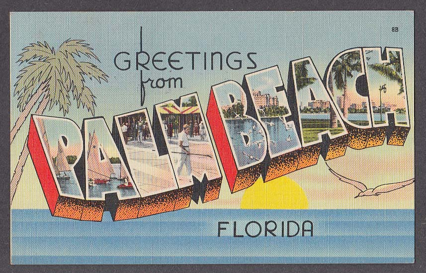 Greetings from PALM BEACH FL large letter postcard 1954