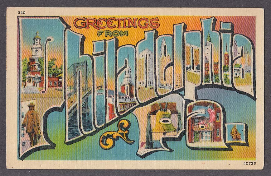 Greetings from PHILADELPHIA PA large letter postcard 1939 40735