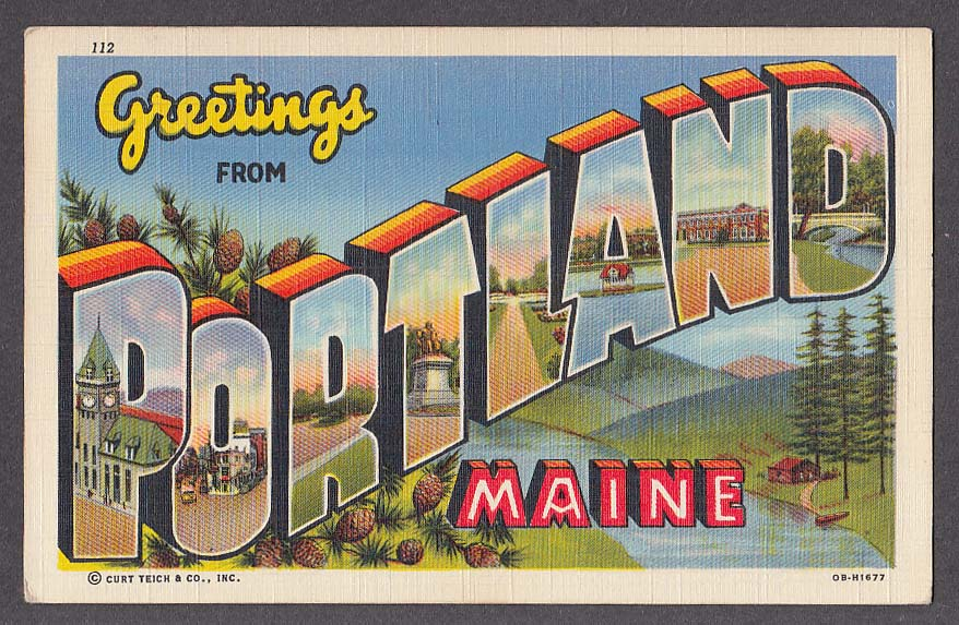 Greetings from PORTLAND ME large letter postcard 1942 Curt Teich OB-H1677
