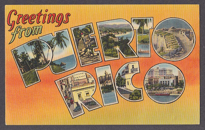 Greetings from puerto rico large letter postcard 1944 m4hsunfo