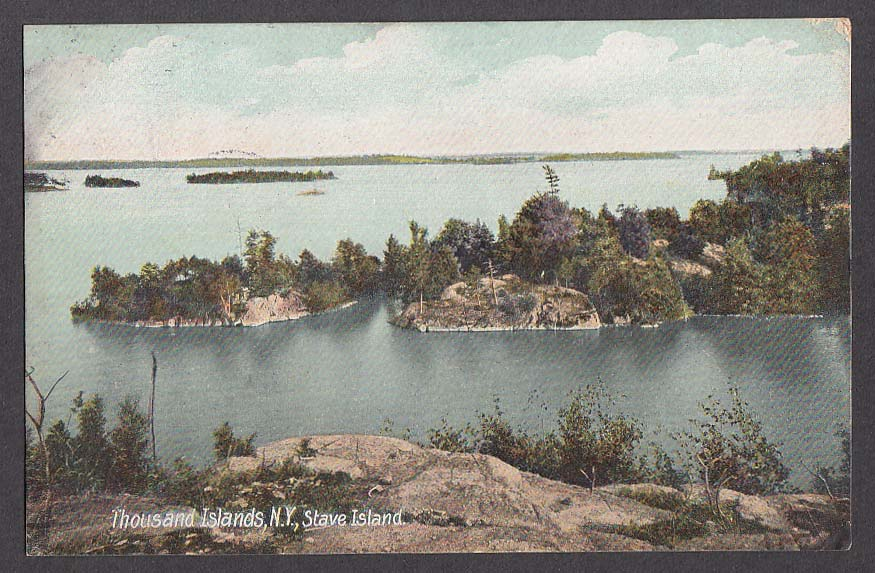 Thousand Islands NY Stave Island postcard 1907