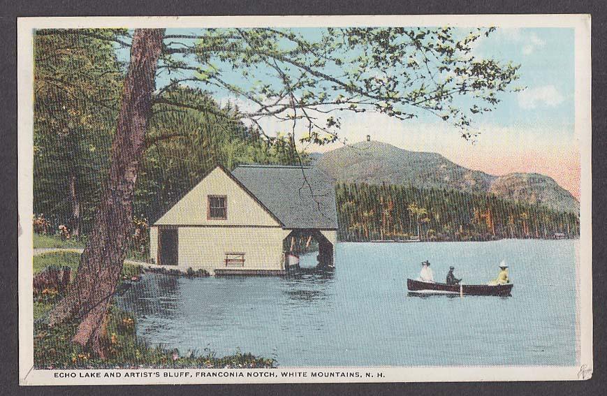 Echo Lake & Artist's Bluff Franconia Notch White Mountains NH postcard 1917