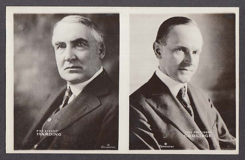 President Harding Vice President Coolidge Edmonston RPPC postcard 1920s
